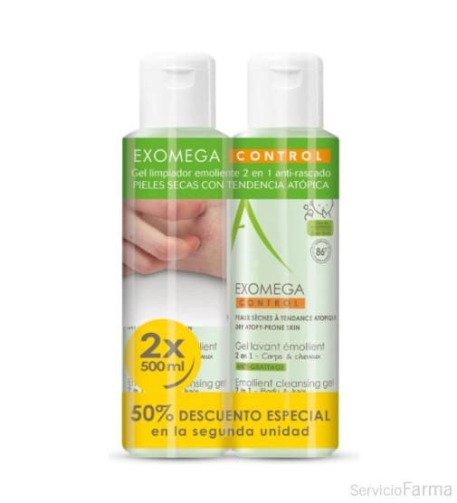 Duplo Aderma Exomega Gel limpiador emoliente 2 en 1 Cuerpo y cabello / 2 x 500 ml
