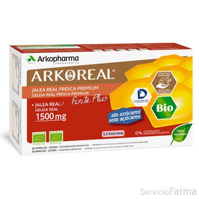 Arkoreal Jalea Real Fresca BIO Forte Plus Sin Azúcar 1500 mg 20 ampollas Arkopharma