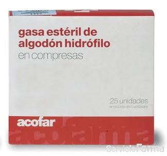 Acofar Gasa Estéril de Algodón Hidrófilo - 25 uds