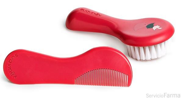 Suavinex set cepillo + peine rosa +0m