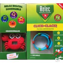 Pulsera antimosquitos Click-Clack + 2 recambios  - Relec + Regalo Reloj